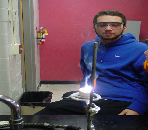Austin S. does not look at the burning magnesium (bad for eyes)